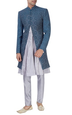 Teal blue & grey sherwani set