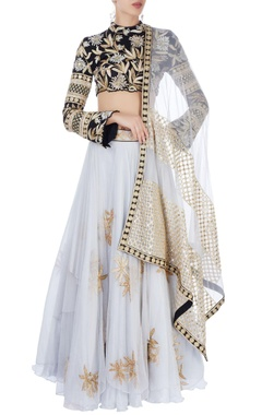 grey & black embroidered lehenga set