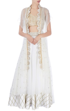 white embellished jacket lehenga set