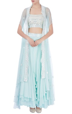 Light blue embellished jacket lehenga set