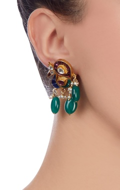 Green & blue peacock earrings