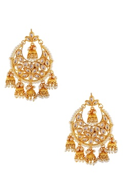 Gold & white earrings with jhumkas