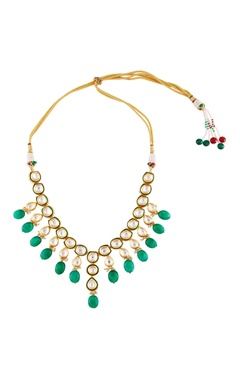 Gold pleated necklace with green beads