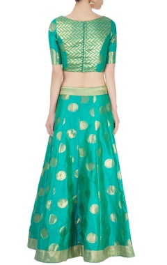 Sea green lehenga set with motif patterns