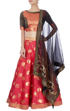 Pink & black lehenga set with motif patterns