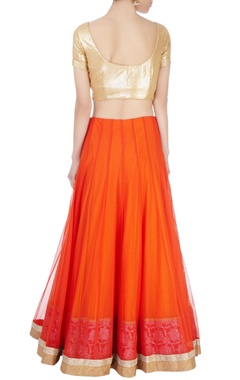 orange lehenga set with motif pattern