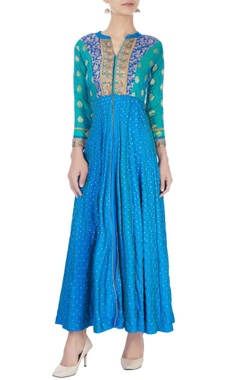 Blue long kurta with embroidery