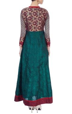 Green kurta with stitch line details