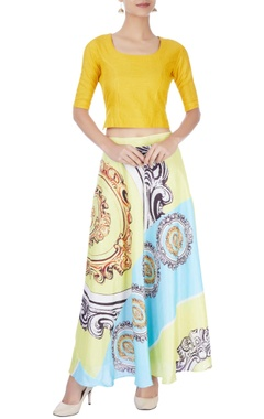 Multi colored printed skirt with top