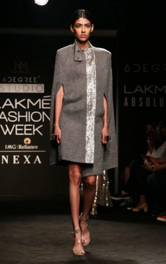 light grey badla embroidered cape with dress