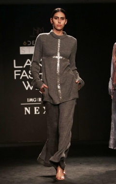 grey pant set with badla embroidery