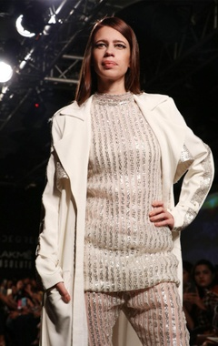ivory trench coat with badla embroidery