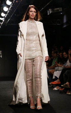 ivory pants with badla embroidery