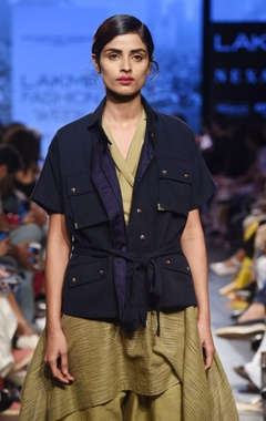 navy blue khadi jacket