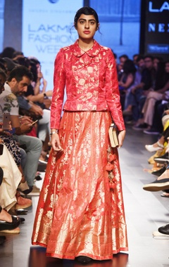 rose red silk lehenga