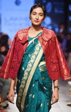 teal blue silk sari