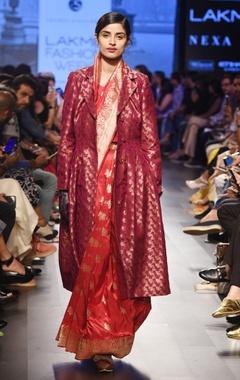 rose red silk sari