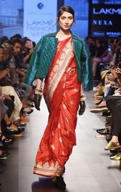 Red silk rose sari