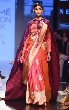 Fuscia pink silk sari