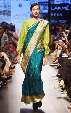 Emerald green silk sari