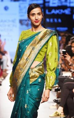 Moss green silk blouse