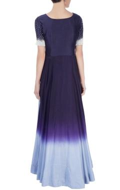 Midnight blue high low top & grey maxi skirt