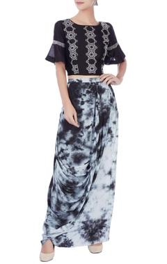 Black & white dhoti skirt & crop top