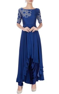 Royal blue asymmetric kurta & dhoti pants