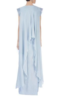 Light grey crop top with draped skirt & kurta