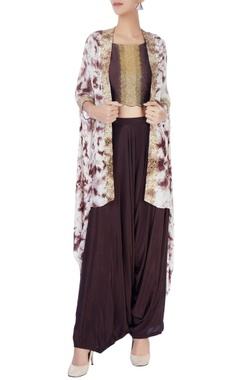Eclat by Prerika Jalan Brown crop top with draped pants & jacket