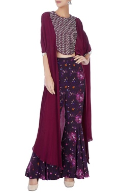 Eclat by Prerika Jalan Wine cape top with printed pants