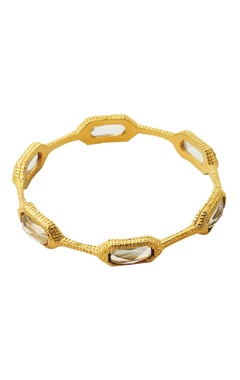 Gold plated bangle with clear crystals
