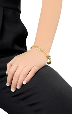 Gold plated bangle with white & grey crystals