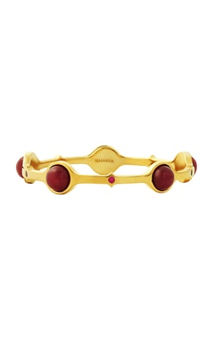 Gold plated bangle with maroon studs