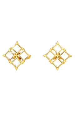 Gold plated cufflinks with mirror-work