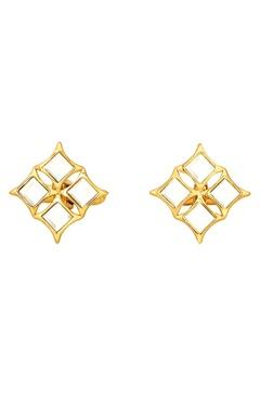 gold plated cufflinks with mirror-work