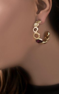 gold plated hoop earrings with multi colored studs