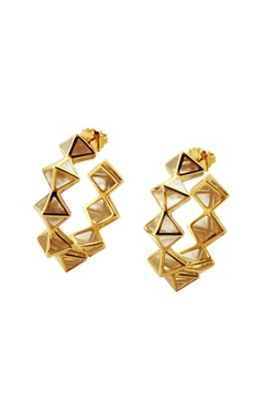 Gold plated hoop earrings with resin pyramids