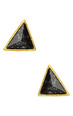 Gold plated triangle earrings with black studs