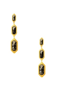 Gold plated drop earrings with black studs