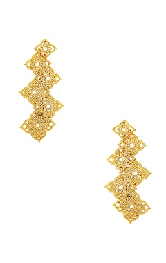 Gold plated filigree-work earrings