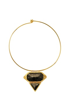 Gold plated choker necklace with black studs