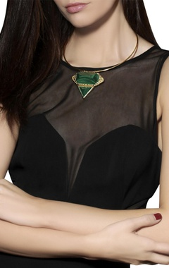 Gold plated choker necklace with green studs