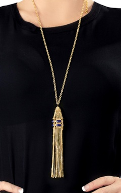 Gold plated tassel necklace with blue studs