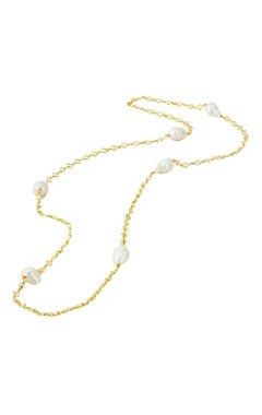 Gold plated long necklace with pearls