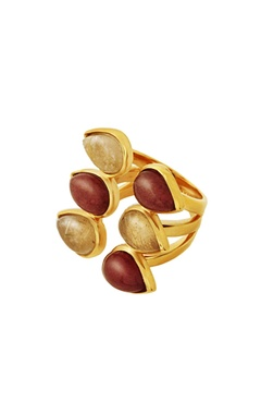 gold plated ring with multi colored studs