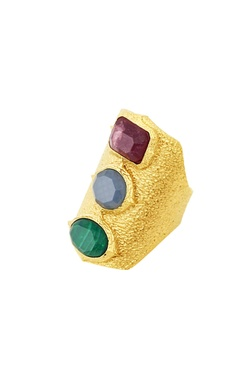 Gold plated ring with studs