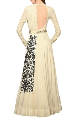 Ivory anarkali gown with dupatta & belt