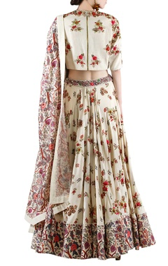 Beige printed lehenga set with embellishment
