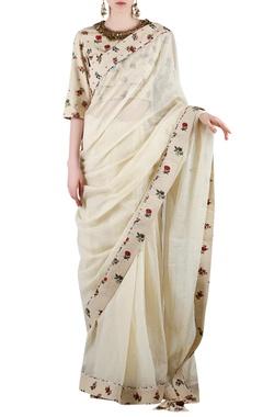 Beige printed sari